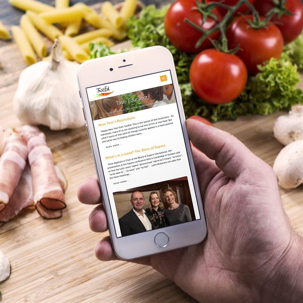 tasted website on mobile device